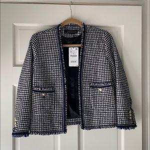 Zara navy/white tweed jacket NWT